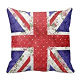 FPcustom Vintage Red Polka Dots Floral UK Union Jack Flag Throw Pillow Cushion Cover 18 X 18