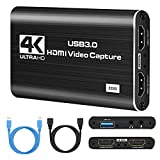 IPXOZO Capture Card,4K Audio Video Capture Card USB 3.0 1080P 60fps HDMI Audio Video Capture Device Portable Video Converter Game Capture Adapter for Streaming Gaming Live Broadcasting Teaching Black