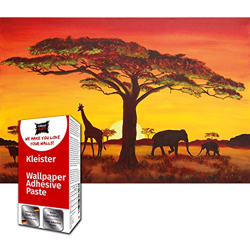 GREAT ART Fototapete Sonnenuntergang in Afrika 210 x 140 cm –Landschaft Safari Wandbild Silhouetten Giraffe Savanne Steppe Prärie Löwe Büffel – 5 Teile Tapete inklusive Kleister