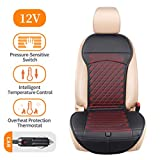 LARROUS Car Leather Heated Seat Cushion with Pressure-Sensitive Switch and Overheat Protection Thermostat,for Car,Office Chair,Home and More(12Volt,Black) (Simple)