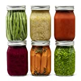 Glass Regular Mouth Mason Jars, 16 Ounce Glass Jars with Silver Metal Airtight Lids for Meal Prep,...
