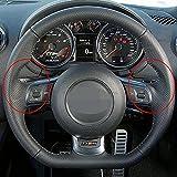LIUJTAO Funda de cuero cosida a mano, para Audi A3 S3 (8P) Sportback 2008-2012 R8 TT TTS (8J) 2006-2014-Red_thread