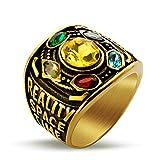 Valily Marvel Avengers thanos Rings Gold Infinite Power Gauntlet Crystal Ring for Men Stainless Steel Infinity War Men Keyring (Gold, 9)