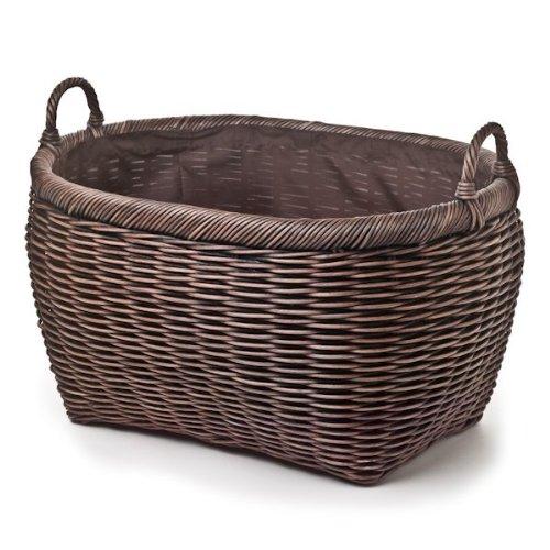 The Basket Lady Oval Wicker Laundry Basket, Jumbo, 25 in L x 19 in W x 14 in H, Antique Walnut Brown
