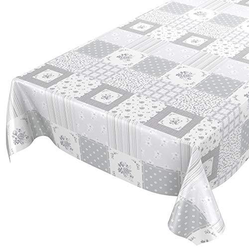 Tovaglia, lavabile, cerata, colore grigio chiaro, patchwork, a quadri, dimensioni a scelta, asciugamani, Hellgrau Patchwork Karo, 160 x 140cm