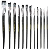 Transon Artist Paint Brush Set of 12 for Watercolor Acrylic Gouache Oil and Tempera Painting