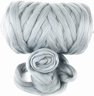 Giant Yarn Chunky Knit Yarn Wool Yarn Extreme Arm Knitting Colors 1 kg(2.2 lbs) Chunky Wool (Smoke Grey)