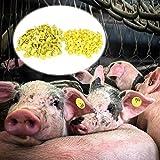 100 Pz Marchio Auricolare per Bestiame Maiale Ovino Bovino Capra Agnello Mucca Orecchio Coniglio Etichetta Marcatore con Numero 001-100 per Fattoria degli Animali da Compagnia (Giallo)