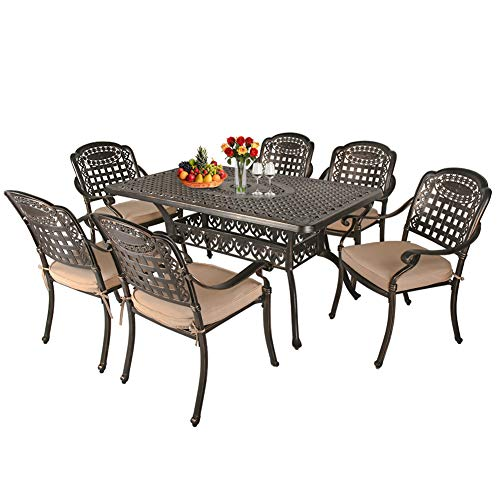 TITIMO 7-Piece Outdoor Furniture Dining Set, All-Weather Cast Aluminum Conversation Set Includes 1 Rectangular Table and 6 Chairs with Khaki Cushions and Umbrella Hole for Patio Garden Deck