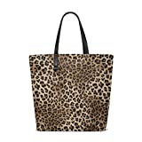 ZZKKO Leopard Print Polyester Leather Tote Bag Shoulder School Bag for Women Teen