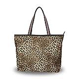 WowPrint Art Animal Leopard Print - Bolso de mano para mujer, gran capacidad para el trabajo escolar, viajes, compras, playa