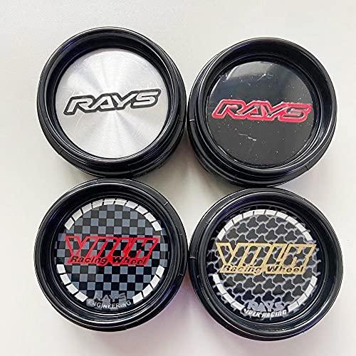 NOIFATY 4 unids 66 mm Compatible con Rayos Racing Coche Centro de Ruedas Cordilleras Centro de Ruedas Cap Rim Caps Emblemas Hubcaps Insignias Accesorios para automóviles (Color : Color1)