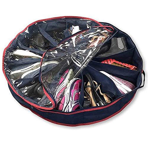 Kangkangk Caja organizadora de Zapatos de 12 Rejillas, Plegable, Forma Redonda, no Tejida, con Ventana Transparente para el hogar, apartamento, Dormitorio