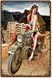Military Theme Metal Signs,Motorcycle & Pinup Girl Retro Metal Tin Sign Vintage Aluminum Sign for Home Coffee Wall Decor 8x12 Inch