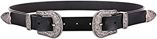 Type Women's Leather Waist Belt for Jeans Clothes Belt of Trousers with Dual Buckle (Color : Silver)