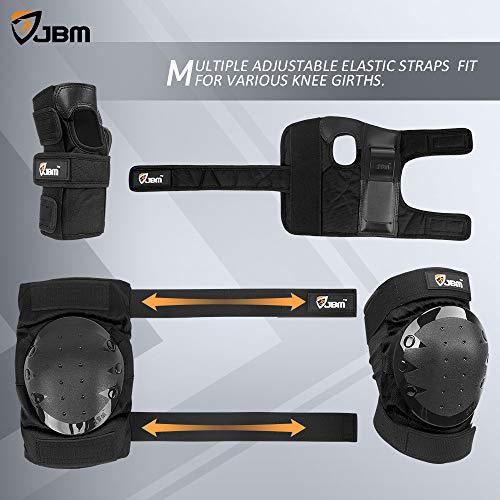 JBM international Adult / Child Knee Pads Elbow Pads Wrist Guards 3 In 1 Protective Gear Set, Black, Adult