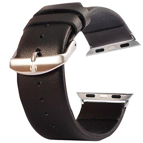 aizhinuo Reloj la Correa para la Textura Sutil Hebilla cepillada Reloj de Reloj de Cuero Genuino -38mm para smartwatches Straps Reemplazo (Color : Black)