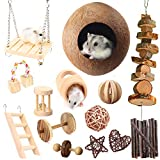 Mynest Hamster Chew Toys, 23pcs Natural Wooden Pine Rats Toys Accessories, Coconut Shell, Tube, Swing, Ladder, Dumbells Exercise Bell Roller Teeth Care Molar Toy