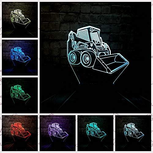 Nndxh Creative 3D Bulldozer Led Night Light Chambre Bébé Produits Sommeil Décoration Humeur 7 Changement De Couleur Usb Base Garçon Enfant Jouet Cadeau, Nouveau Cadeau