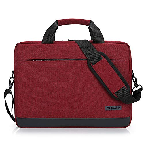 Alfheim - Laptop Bag 15.6-16 Inch,Messenger & Shoulder Bags for Men Women, Waterproof Briefcase,Handbag Fit for 15.6 Inch Laptop,Lightweight Notebook Bag,for Student/Business/Commute/Travel(Red)