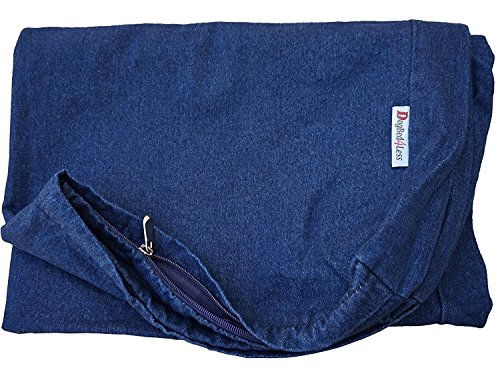 Dogbed4less 47X29X4 Inches Extra Large Blue Color Denim Cotton Jean Dog Pet Bed External Zipper Duvet Cover - Replacement Cover only
