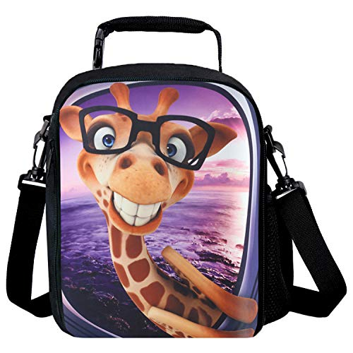Reusable 3D Design Snack Shoulder Bags with Zipper Online Insulated Thermal Girls Boys Lunch Tote Bags Lunch Cooler Box for Picnic Giraffe