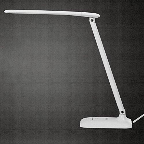 LED Lampe de bureau lumière lampe de table réglable lumière de travail lampe de bureau réglable bras pivotant avec abat-jour Blanc bleu A+ (Color : White)