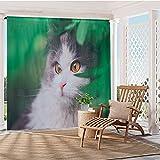 HGmart Gartenvorhang für den Außenbereich, wasserdicht, Sichtschutz, UV-Schutz, für Veranda, Pavillon, Deck Fuffy Cat bedruckt, Stangentasche, 127 x 213,4 cm, 2-teilig