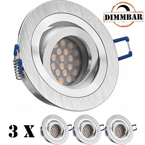 LEDANDO 3er LED Einbaustrahler Set mit LED GU10 Markenstrahler - dimmbar 5W - schwenkbar - warmweiss - 60° Abstrahlwinkel - A+ - 50W Ersatz - Bicolor Alu