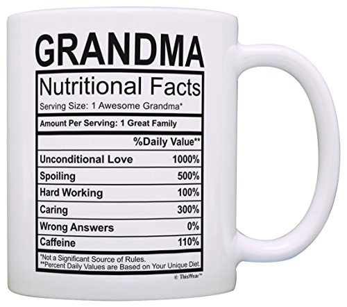 Mothers Day Gifts for Grandma Nutritional Facts Label Funny Gifts for Grandma...