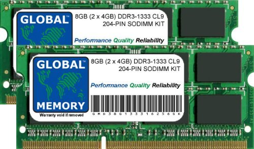 8GB (2 x 4GB) DDR3 1333MHz PC3-10600 204-PIN SODIMM MEMORY RAM KIT FOR MACBOOK PRO (EARLY/LATE 2011)