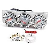 KKmoon 52mm Voiture Moto Compteur Automobile 3 en 1 Universel, Kit de Jauge de Pression d'huile Température de l'eau Jauge Voltmètre