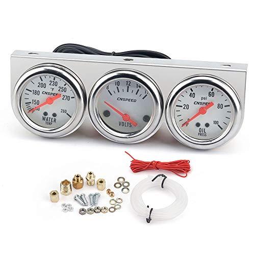 Triple Gauge Set, KKmoon Car 2'' 52mm Chrome Volt Water Temp Gauge, Universal Oil Pressure Gauge, Gauges Kit