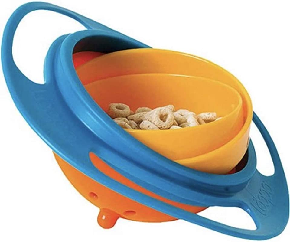Gyro Bowl COMETA 360 Degree Rotation Spill Resistant Gyroscopic Bowl With Lid Toy Tableware For Kids Toddlers Blue