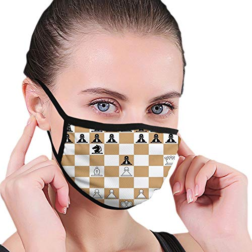 Comfortable Windproof mask,Board Game, Opening Position on Chessboard Letters Numbers Squares Pieces Print,Brown Pale Brown Black,Printed Facial decorations for Women and Men