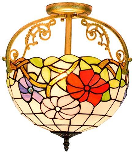 DALUXE Lampada a Sospensione in Stile 12 Pollici Tiffany, Morning Glory Stained Glass Ceiling Le lampade, l'illuminazione sospesa per Camera da Letto, disimpegno, Bagno