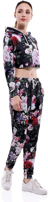 JJCat Women's 2 pcs Flowers Crop Tops Long Sleeve Active Casual Hoodie and Sweatpant Tracksuit Set