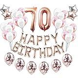 Feelairy 70 año Cumpleaños Globos Decoración Kit Oro Rosa, Happy Birthday Banner Globo Carta, Globos de Papel Aluminio Gigante Número 70 y Estrella Globos, Cumpleaños 70 para Adultos Mujer