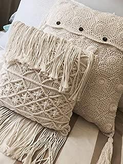 FLBER Macrame Pillow Woven Decorative Throw Pillow,15.8