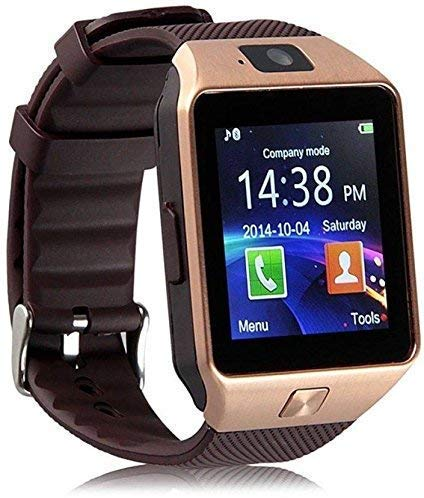 V.T.I. DZ09 Bluetooth Smart Watch with Touchscreen Multi-Functional Sim Card Support for Mens Boys Kids Girls - Gold Color