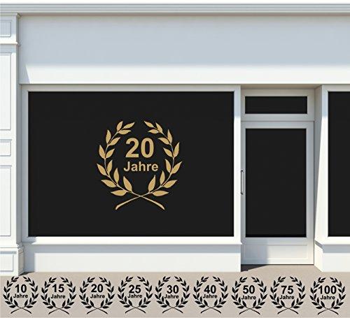Jubilé Colle Sur fenêtre autocollants Jubilé couleur + Nombre Choix dans 33 couleurs mat ou brillant 10, 20, 25, 30, 40, 50, 75, 100 ans et autres - 60 cm - Marron brillant