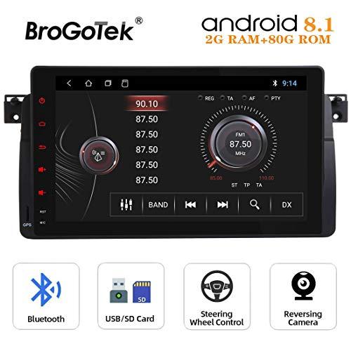 Radio Android 8.1 Coche Autoradio Compatible con BMW E46 M3 Rover 75 MG ZT Sedan Touring Coupe 9 Pulgadas 1 DIN con navegación GPS Video Bluetooth 1080P Pantalla táctil WiFi 4G Controles del Volante