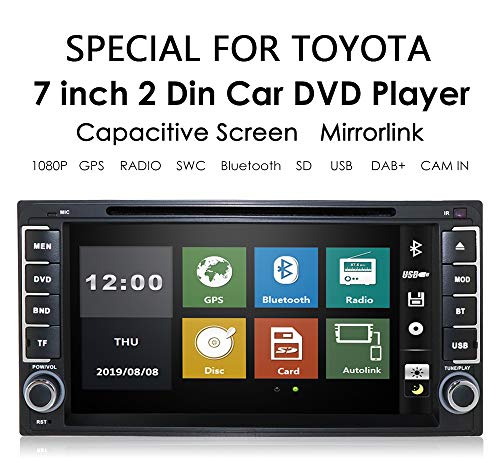 7 Inch In Dash Universal Car Stereo DVD Player Double Din Navigation Radio Support BT/SWC/Rear Camera/Subwoofer for Toyota Camry Corolla RAV4 4Runner Hilux Tundra Celica Auris