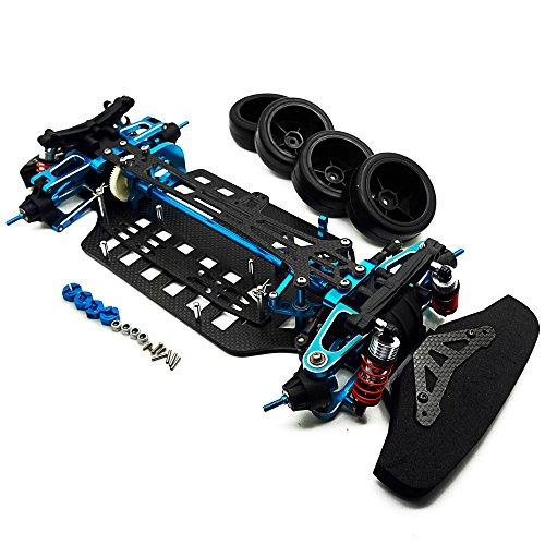 XUNJIAJIE 1 Set Aluminium&Kohlefaser Wellenantrieb 4WD Touring Auto Rahmen Kit für TT01 RC Modell-Auto