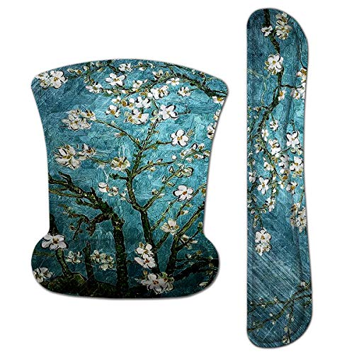 Mouse Pad with Wrist Support and Keyboard Wrist Rest Pad Set,Ergonomic Mouse Pads for Computers Laptop,NonSlip Comfortable Mousepad w/Raised Memory Foam for Easy Typing Pain Relief (Van Gogh Painting)