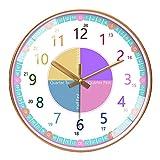 TopHGC Orologio da Parete per Bambini Orologio da Parete, Orologio Facile da Leggere con Movimento Silenzioso. Insegna ai Bambini Come Leggere Un Orologio analogico con Questo Diametro di 12 Pollici