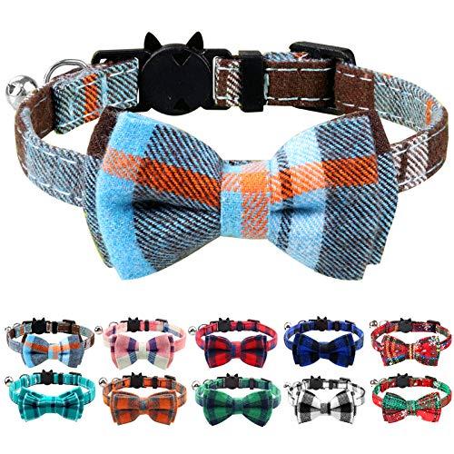 Joytale Katzenhalsband mit Sicherheitsverschluss und Glöckchen, Süß Katzenhalsbänder mit Schleifchen, Verstellbar Halsbandes für Katze und Kitten, 1 Pack, Dunstblau