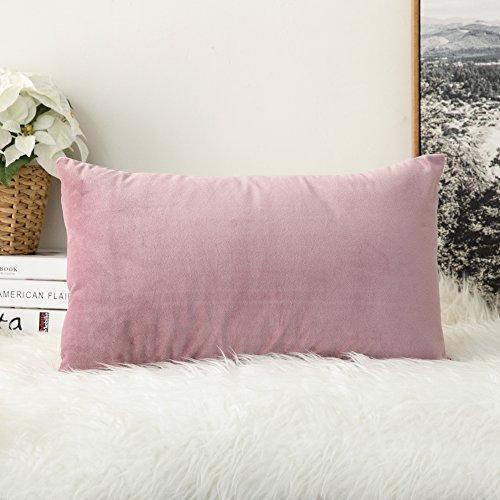 MIULEE Confezione da 1 Federa in Velluto Copricuscino Decorativo Fodera Quadrata per Cuscino per Divano Camera da Letto Casa30X50cm Rosa Viola