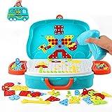 Ulikey Juguetes Montessori Puzzles 3D, 207PCS Tablero de Mosaicos Infantiles, Construcción de Juguetes con Taladro Eléctrico Herramienta Tornillo, Juegos Educativos Regalos para Niños