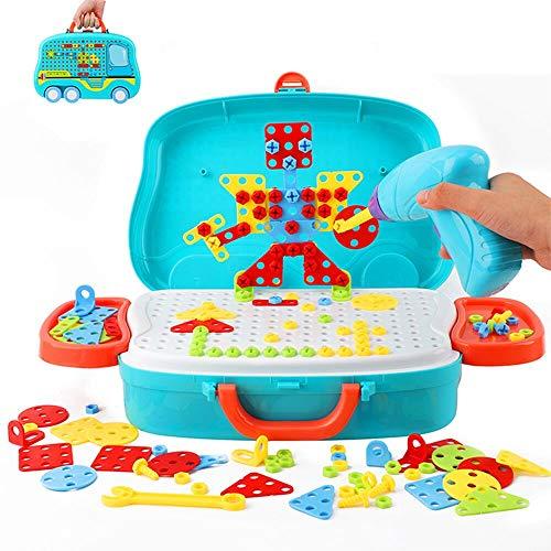 Ulikey 3D Mosaik Steckspiel Pegboard Puzzle, 207PCS Steckspiel Montessori Spielzeug mit Drillen, Pädagogisch Kreativ Spielzeug Mosaik Spiel Werkzeugkoffer Lernspielzeug für Jungen Mädchen